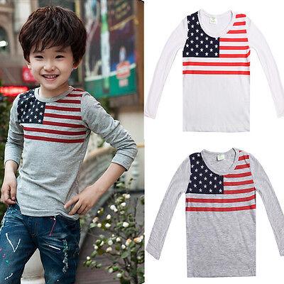 Korean Baby Kids Boy Girl American Flag T-shirt Tops Long Sleeve Shirt 1-7Y CA