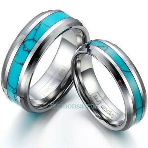 8mm-6mm-Tungsten-Rings-w-Synthetic-Turquoise-Inlaid-Men-039-s-Women-039-s-Wedding-Band