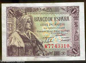 1 Peseta 1945 Isabel La Catholique @@ Très Beau @@