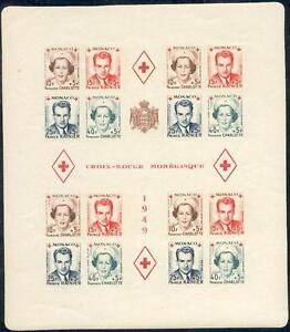 MONACO-BLOC-FEUILLET-3B-034-CROIX-ROUGE-1949-CHARLOTTE-ALBERT-III-034-NEUF-xx-TTB
