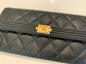 7093892ec6d5 Chanel Boy Wallet Long Quilted Black Caviar Leather Gold Hardware | eBay