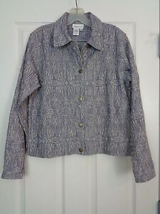 Coldwater-Creek-Women-039-s-Jacket-Paisley-Denim-Size-Small-EXC