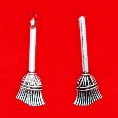 12 x Tibetan Silver Broomstick Broom Brush Harry Potter 3D Charms Pendants Beads