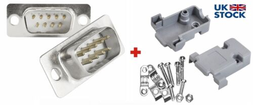 Db9 D SUB Male D-Sub 9pin connector plug with Gray Hood-Shell