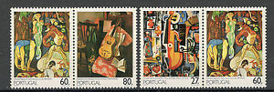 PORTUGAL-MNH-TWO-PAIRS-ART-Painting-of-the-20th-century-1988
