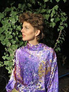 Lilas Chemise Silky Années 70 années Truevintage Blouse Femme Top Purple Chemise des 70 1SyqwB7xPF