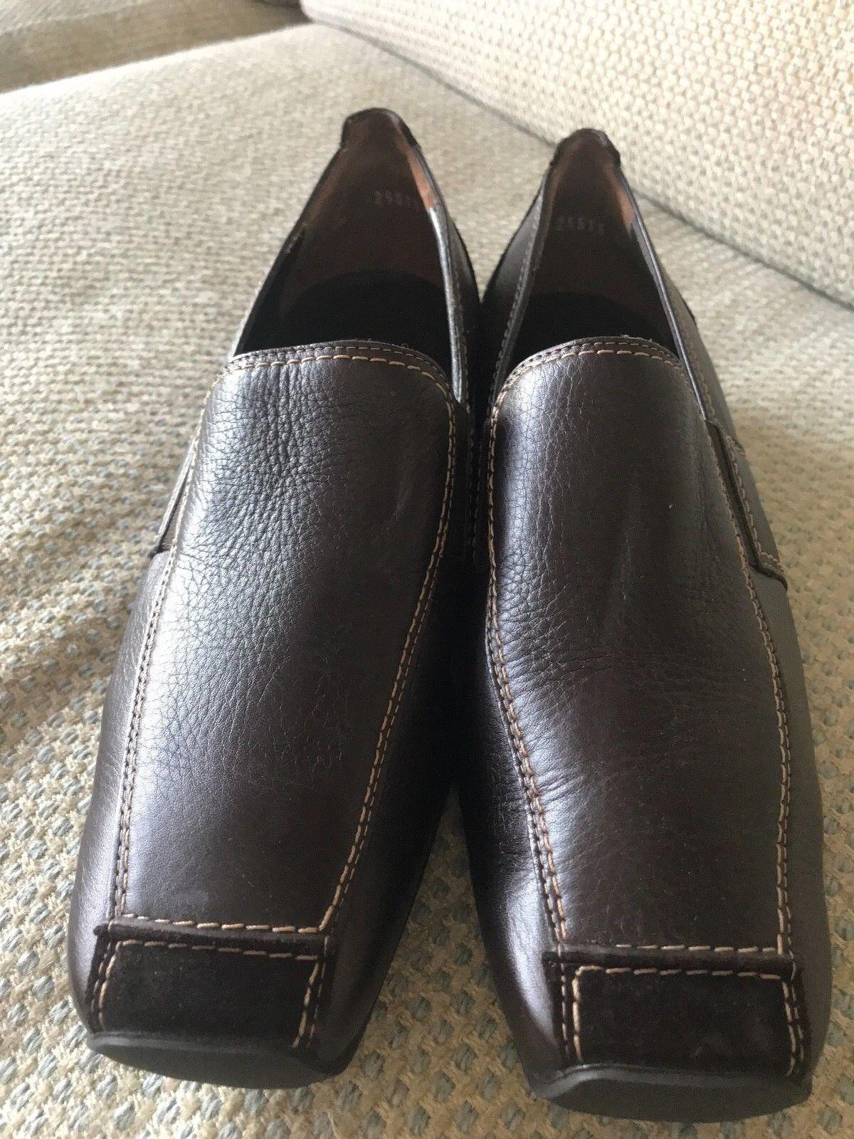 NEW PAUL Grün braun Leather Suede Low Heel Loafers 4 1 2 UK   7 US Austria