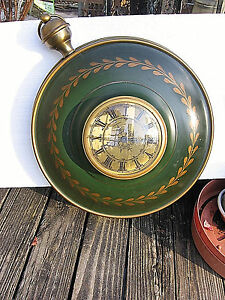 Georgian Very Rare wind up Wall Clock antique Green & Copper Color Free Shipping