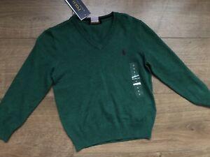 New Ralph Lauren Boys Green Cardigan Top Sweater Size 4-5 Years
