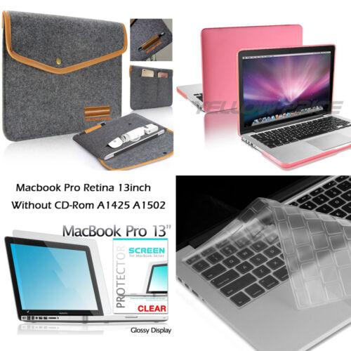 For Apple Macbook Air Pro Soft Sleeve Bag Wallet Cover Rubberized Hard Case KB