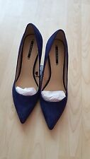 ZARA BLUE LEATHER MID HEEL  COURT SHOES  NEW  SIZE UK 4 EU 37