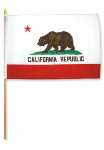 """12x18 12/""""x18/"""" Wholesale Lot of 6 State of California Stick Flag wood Staff"""