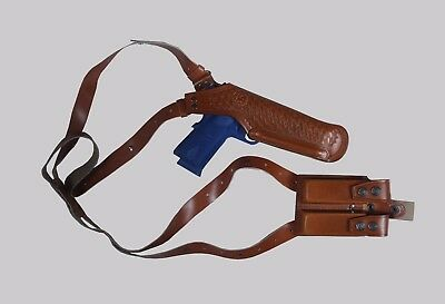 L455-357 Shoulder Holster with Double Speedloader Pouch 357 Mag 6'' LEFT HANDED