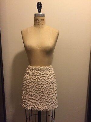 H&M Winter White Faux Fur Mini Short Skirt NWOT SZ 12