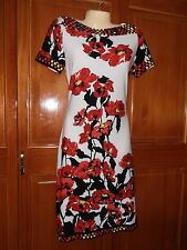 Womens S Short sleeve Dress INDIA BOUTIQUE Multi Red Large Print Bordered Unique