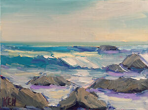 ROCKY-SHORES-TWO-Original-Expression-Art-Seascape-Ocean-Painting-9x12-052219-KEN