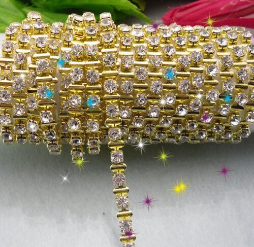 Diy SS16 Clear crystal glass rhinestone 4mm close chain trims Applique 1 yard