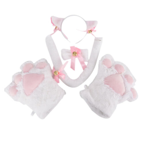 5pcs//set Cat Cosplay Costume Cat Tail Ears Collar Paws Gloves Set Cute SL