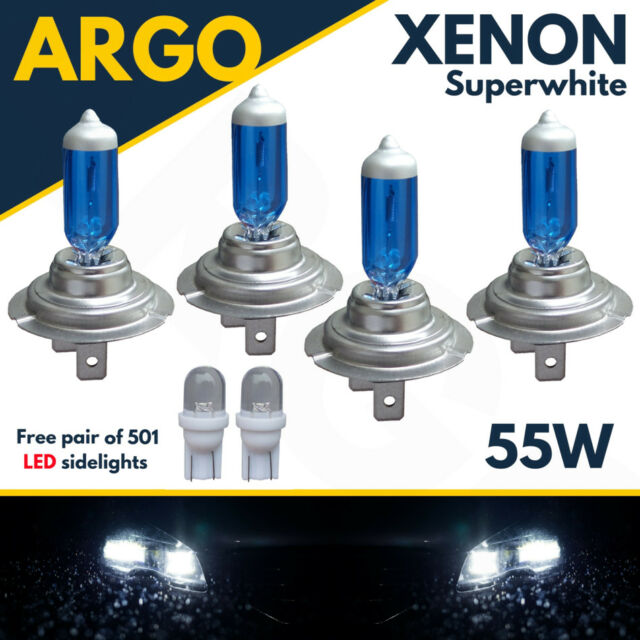 H7 H7 501 55W SUPER WHITE XENON HID HIGH/LOW/SIDE LIGHT BEAM HEADLIGHT BULBS