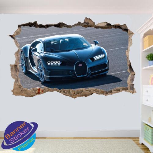 LUXURY SPORT DRAG CAR BUGATTI 3D SMASHED WALL STICKER ROOM DECOR DECAL MURAL YT0
