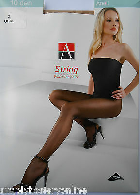 Adrian Anell 10 Denier String Tights Summer pantyhose + sheer toes & STW 1 pair