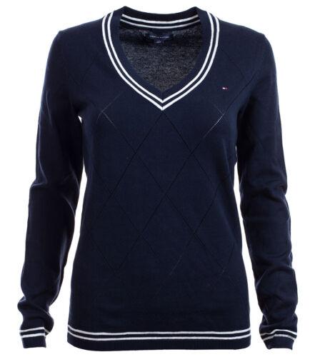 Tommy Hilfiger V-Neck Damen Pullover Pulli Strickpullover Argyle navy