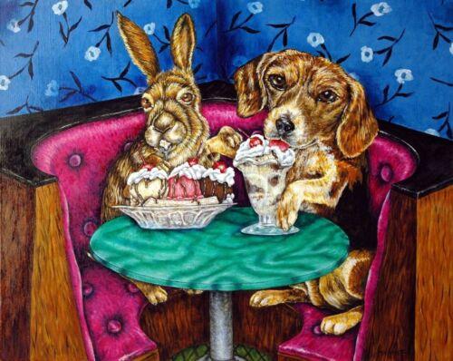 Bunny and Beagle at the Ice cream parlor art print 8x10  art artist print