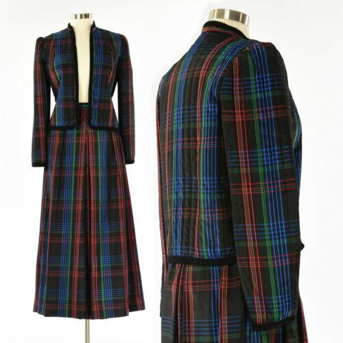 70s Vintage Plaid Satin Maxi Skirt Set Open Front