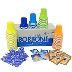 Kit-Accessori-100-pezzi-caffe-BORBONE-bicchieri-palette-bustine-di-zucchero