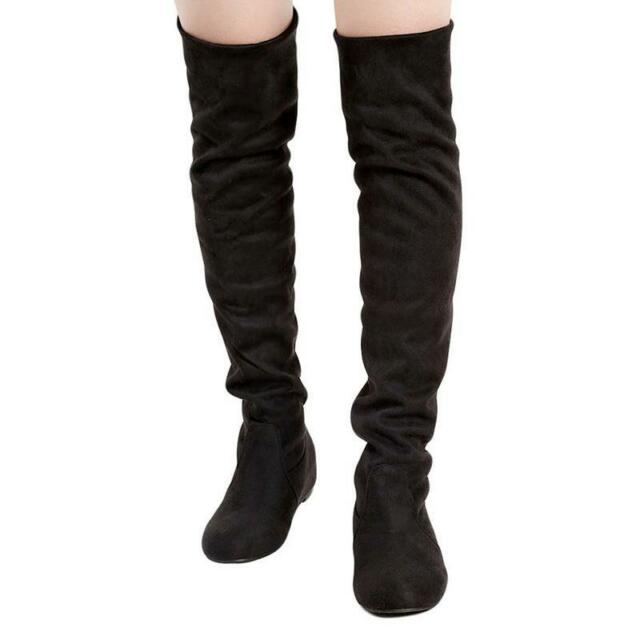 bf08a176ce3b Fashion Women Winter Flat Bottom Shoes Over Knee Thigh High Suede ...