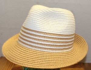 WOMENS MAGID HATS 100% PAPER FEDORA BROWN WHITE OSFM EXCELLENT ... 66ed900dd15