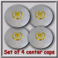 Set 4 Chrome Gold Cadillac Deville Wheel Center Caps 1991-1997 Replica Hubcaps