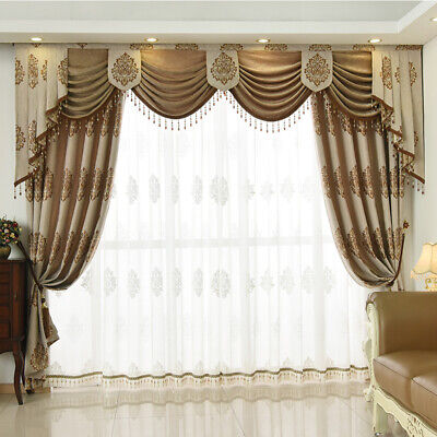 European Luxury Living Room Cotton, Living Room Curtains With Valance