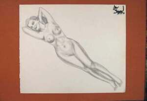 Original-Old-Antique-Print-Lady-Art-Sketch-Drawing-Fine-Naked-Woman-Pencil