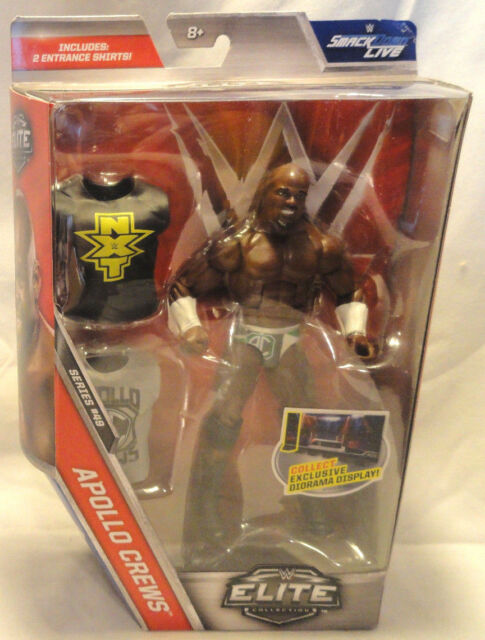 WWE ELITE SERIES 49, APOLLO CREWS ACTION FIGURE W/ 2 ENTRANCE SHIRTS, NEW