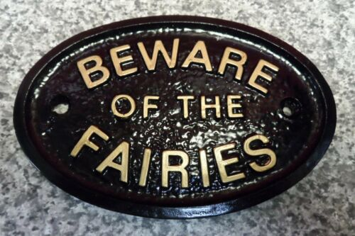 BEWARE OF THE FAIRIES HOUSE DOOR PLAQUE SIGN GATE WALL NEW
