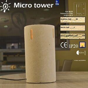 Lampada Da Tavolo Artigianale In Pietra Di Matera Modello Micro Tower Ebay