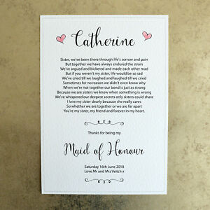 thanks for being my maid of honour a4 personalised wedding poem sign