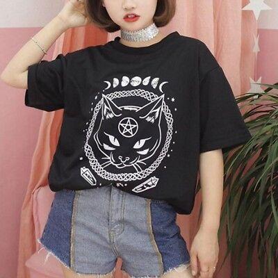 Ladies Women Summer T-Shirt Top Short Sleeve Casual  T-Shirt Blouse Cat Print