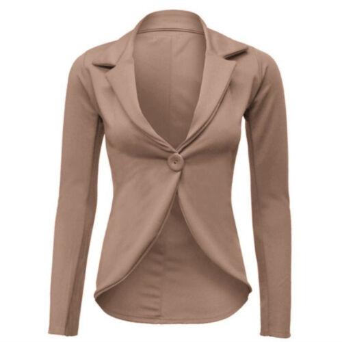 New Women's Ladies Crop Frill Shift Slim Fit Peplum Blazer Jacket Coat Size*slmj