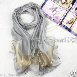Fashion-Women-Silver-Gray-Pure-100-Silk-Scarf-Wrap-Ladies-Shawl-Scarves-New