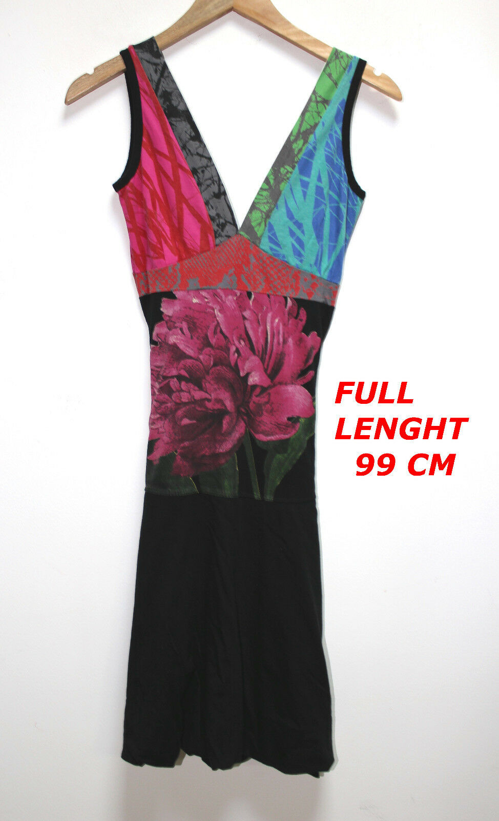 DESIGUAL MULTICOLOR COLOR  LADIES WOMAN DRESS SLEEVELESS MARKED SIZE XS COTTON