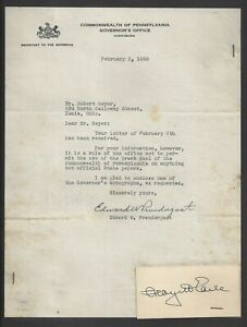 Pennsylvania Governor George Howard Earle 1938 Autograph Letter Envelope