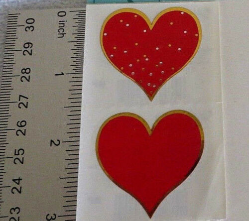 Half Strip Vintage Retired Stickers Reflections Mrs Grossman RED /& GOLD HEART