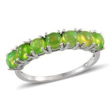 ETHIOPIAN GREEN OPAL Eternity Ring Platinum clad solid 925 Sterling Silver UK N