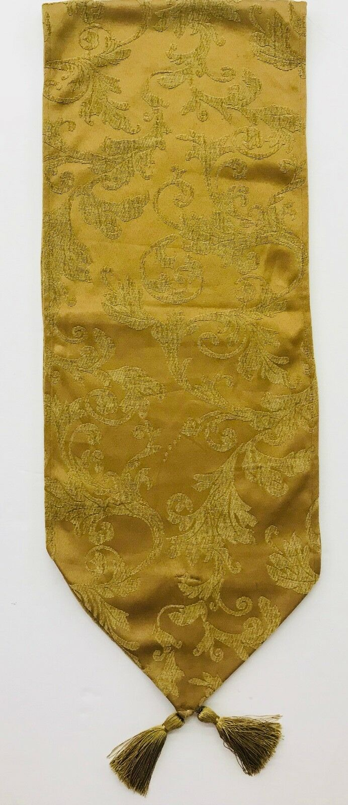 Table Runner Honey Gold Traditional Elegant With Tassels 13 X 70 Inches
