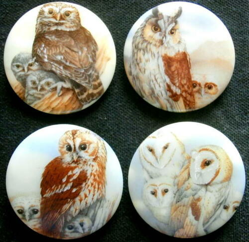 4 Czech Glass Decal Buttons #A748 - UNIQUE COLLECTION of 4 DIFFERENT OWLS - XXL