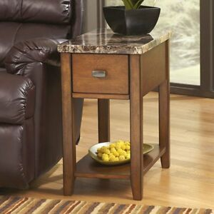 Details about Small Side Table Contemporary Living Room End Tables Faux  Marble Top Drawer