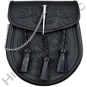Nouveau h m kilt sporran celtique en relief en cuir noir loquet broche détail et chaîne