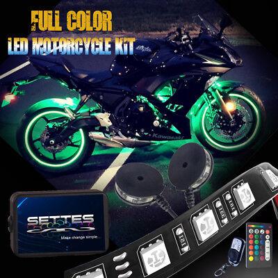 12pcs Motorcycle Led Lights Wireless Remote 18 Color Neon Glow Light Strips Kit Ebay
